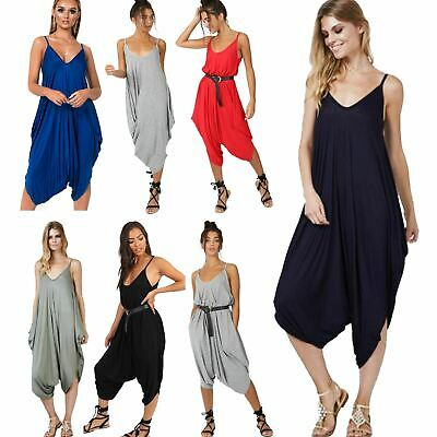 Ladies Womens Cami Strappy Italian Harem Ali Baba Baggy Jumpsuit Playsuit Romper • 9.99£