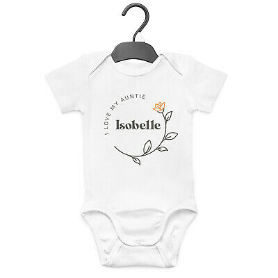 I Love My Auntie Flower Personalised Baby Grow Vest Funny Gift Cute  • 7.99£