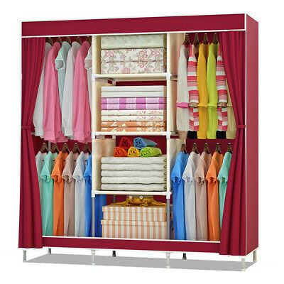 AU41.99 • Buy 69'' DIY Large Closet Wardrobe Clothes Rack Waterproof Fabric Storage Organizer