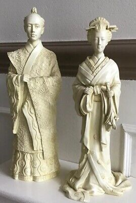 Past Times Resin Oriental Japanese Style Figures Man & Woman 12 Inches Tall • 10£