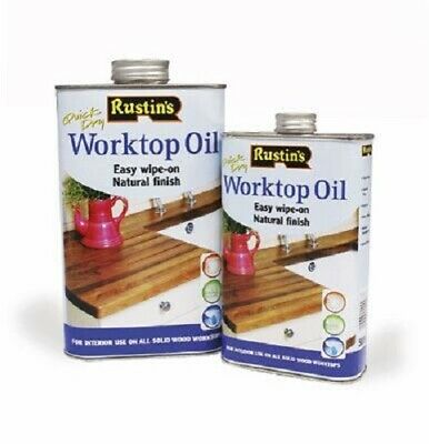 Rustins Quick Dry Worktop Oil Easy Wipe On Natural Finish For Solid Wood Worktop • 13.99£