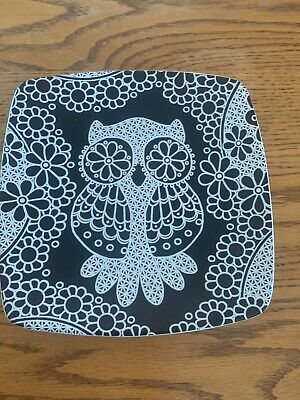 "$8 • Buy ROSCHER COLLECTION 8.5"" Plate Lace Owl Animal Square Dish Black White"