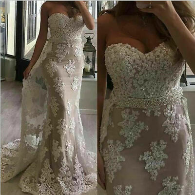 $ CDN154.14 • Buy Mermaid Wedding Dresses Sequins Bridal Gown Applique Beaded Long Train Strapless