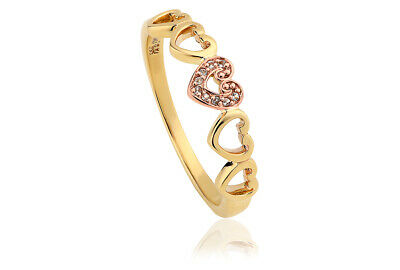 £100 • Buy NEW Welsh Clogau 9ct Yellow & Rose Gold Affinity Heart Ring £160 Off! SIZE N