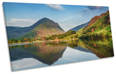 Lake District Landscape PANORAMIC CANVAS WALL ART Print Picture Blue • 56.99£