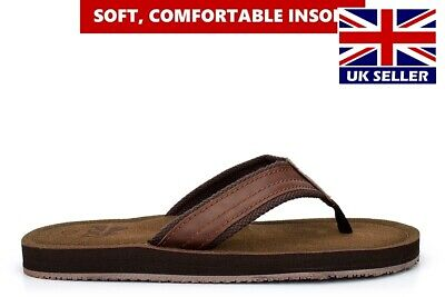 Mens Sandals Faux Leather Sandals Boys Sandals Flip Flops Toe Post Brown Size • 13.99£