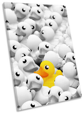 Yellow Rubber Duck Bathroom CANVAS WALL ART Portrait Print Picture Grey • 23.99£
