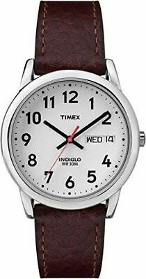 Timex T20041, Men's Easy Reader Brown Leather Watch, Indiglo, Date, 35MM Case • 22.50£