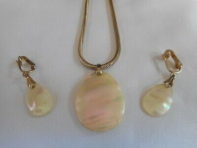 $11 • Buy Vintage Signed Sarah Coventry Necklace & Earring Set Mother Of Pearl