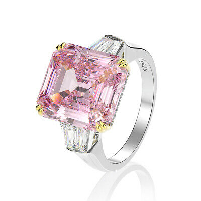 AU160.28 • Buy 925 Sterling Silver Created Moissanite Sapphire Pink Ring Size 5 To 12