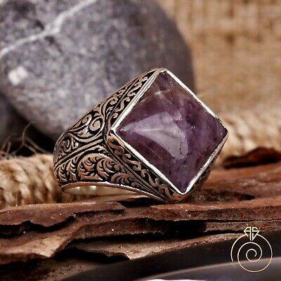 £83.76 • Buy Mens Ring Amethyst Gemstone Promise Vintage Engraved Silver Antique Jewelry Size
