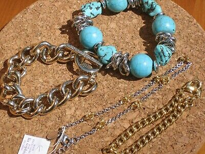 $ CDN16.67 • Buy Victoria's Secret Lia Sophia Stretchy Chunky Turquoise Silver Gold LOT Bracelets