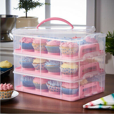 3 Tier Cupcake Holder Carrier Box Cake Bread Fruit Storage Container Portable • 18.95£