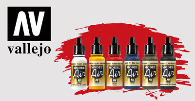 Model Air Matt Acrylic Colours, Water-based For Airbrushes By Vallejo ~ 17mls • 2.69£