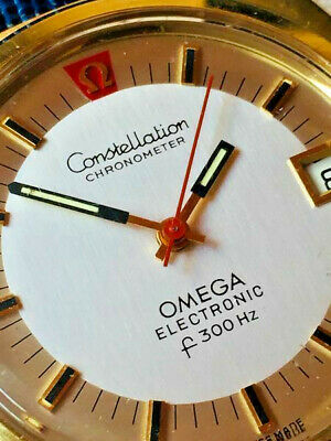 AU1074.36 • Buy OMEGA Constellation Electronic F300Hz Watch. 38mm Case. Gold Dial. Day. Date.