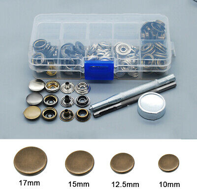 50X Heavy Duty Snap Fasteners 10/12.5/15/17mm Press Studs Kit Buttons W Tool • 7.69£