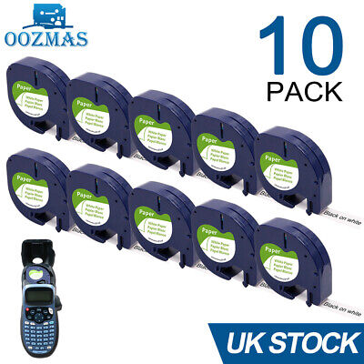 £12.99 • Buy 10PK Compatible Dymo LetraTag Refill White Paper 91200 Label Tape 12mm LT-100H