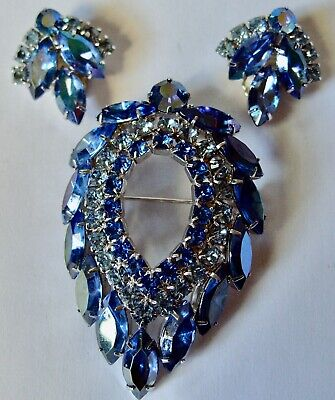 $32 • Buy Vintage Sarah Coventry Blue Lagoon Pin And Earrings Set