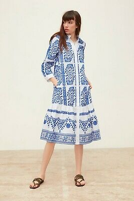 $71.64 • Buy EUC SOLD OUT Rare ZARA Blue/White Embroidered Dress Tunic Size XL 4786/073