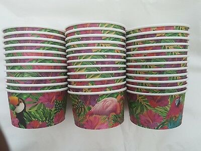 24  X Paper Ice Cream Tub With Spoons Great For Party And All Occasion • 6.99£