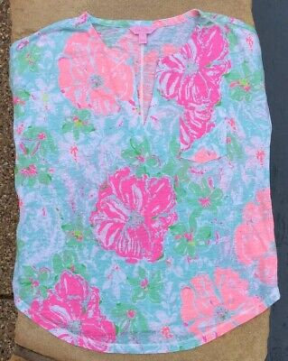 $17 • Buy NWOT LILLY PULITZER DUVAL TOP In POOLSIDE BLUE BEACH WALK (small)