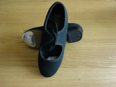 Black Canvas Tap Dance Shoes Low Heel Girls Uk Size 2.5 - But Are A Small Fit • 6.99£
