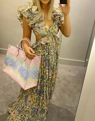 $985 • Buy NEW Zimmermann Frilled Design Floral Print Super Eight Gown Dress 0,1,2