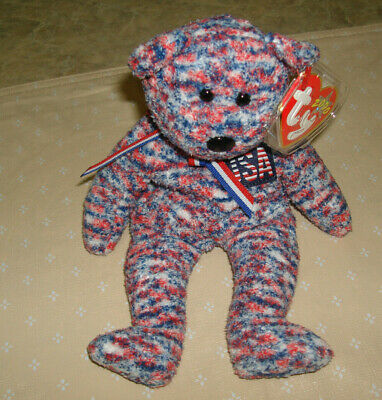$250 • Buy Ty Beanie Baby 2000 Usa Patriotic Bear With Black Stamp Inside Tush Tag  Errors