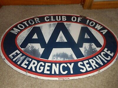 $ CDN1075.91 • Buy Vintage Large PORCELAIN AAA MOTOR CLUB OF IOWA GAS OIL AUTO ADVERTISING SIGN