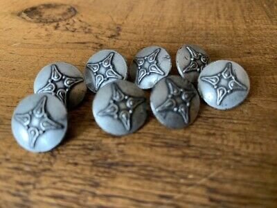 8x Vintage Pewter Silver Metal Shirt Coat Cardigan Knitwear Mens Buttons  • 9.99£