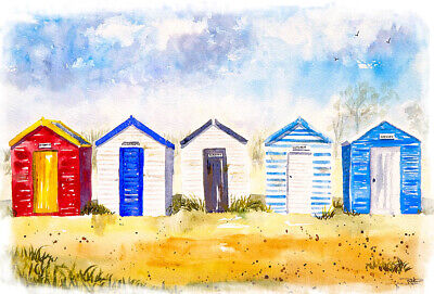 Beach Huts Suffolk Exclusive Canvas Print Painting Wall Art Sea Gift Present • 13.99£
