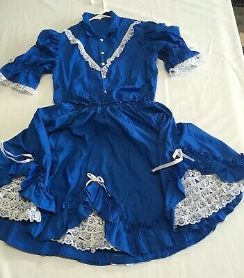 $30 • Buy Square Dance Dress 2 Piece Outfit Blouse Skirt Blue White Lace Trim Pearl Snaps