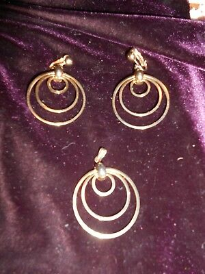 $4.99 • Buy Sarah Coventry Gold Tone Set 3 Round Circles Clip Earrings Necklace