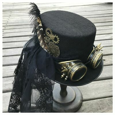 Women Handmade Steampunk Top Hat Glasses Lace Stage Magic Party Cap Size 57cm  • 45.81£