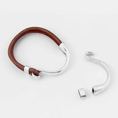 Antique Silver Half Cuff Bracelet Findings Hook Clasp For 5mm Round Leather Cord • 6.99£