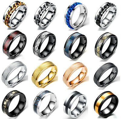 AU9.95 • Buy Men Women Fashion Punk Black Silver Gold Titanium Steel Ring Band Collections
