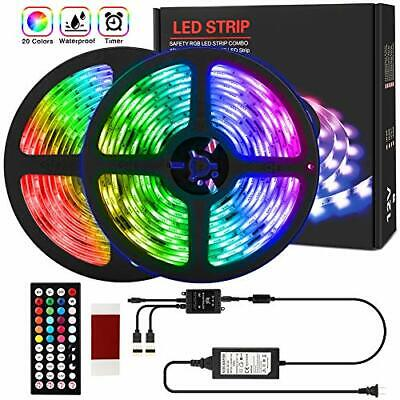 $35.07 • Buy 2 Pack 32.8ft RGB LED Strip Light With Remote For Room , Waterproof Change Color