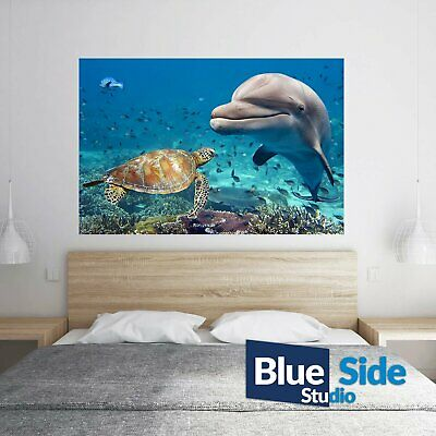 Delphin & Sea Turtle Underwater Poster Self Adhesive Wall Sticker Decal Mural • 14.99£