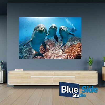 Three Dolphins Underwater Poster Self Adhesive Wall Sticker Art Decal Mural • 12.99£