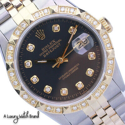 $ CDN7849.99 • Buy Rolex Datejust Mens 36mm Two-Tone Black Diamond Dial Pyramid Bezel Watch