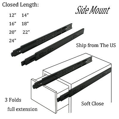 $16.99 • Buy Full Extension Drawer Slides 22 18 14 12 Inch Side Mount Ball Bearing Soft Close