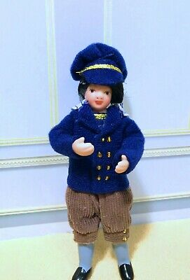 $ CDN27.77 • Buy Dollhouse Miniature  Porcelain Dressed Boy Doll In Navy Blue Hat & Jacket