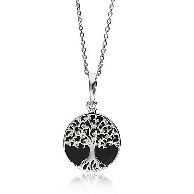 Sterling Silver Whitby Jet Tree Of Life Pendant • 49£