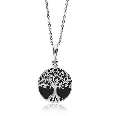 Sterling Silver Whitby Jet Extra Small Tree Of Life Pendant • 39£
