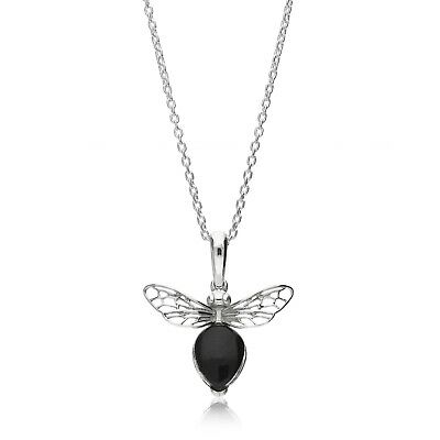 Sterling Silver Whitby Jet Bee Pendant • 49£