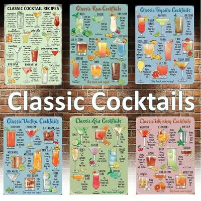 £4.73 • Buy Classic Cocktail Recipe Man Cave Sign Pub Wall Metal Plaque Rum Vodka GinTequila