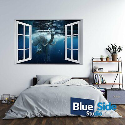 Elephant Swim Underwater 3D Window Effect Self Adhesive Wall Sticker Decal Mural • 12.99£