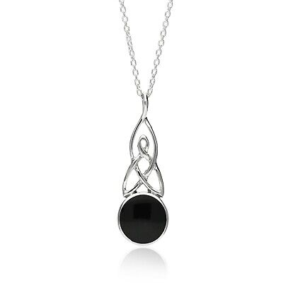 Sterling Silver Whitby Jet Celtic Round Pendant • 36£