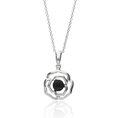 Sterling Silver Whitby Jet Rose Necklace • 34£