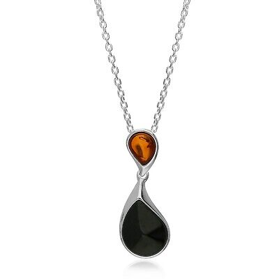 £59 • Buy Sterling Silver Double Teardrop Whitby Jet And Amber